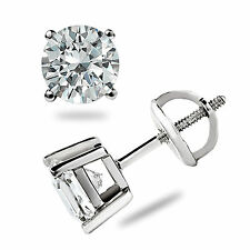 1.05 Ct Simulated Round Cut Stud Earrings Screw back Pierced 14K White Gold Gift