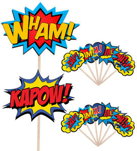 Superhero Callout Speech Bubbles Food & Cupcake Picks Toppers Decorations Party