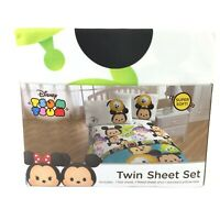 Disney Tsum Tsum Twin Bed Sheet Set White MICKEY MINNIE MINION OLAF AND MORE NEW