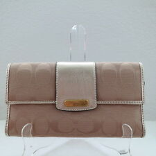 NWT COACH PENELOPE SIGNATURE CHECKBOOK WALLET 42181 KHAKI/GOLD 2