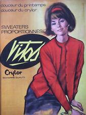 PUBLICITÉ DE PRESSE 1964 VITOS CRYLOR SWEATERS PROPORTIONNEÉS - ADVERTISING