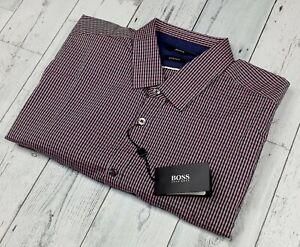 NEW HUGO BOSS Men's XL Regular Fit Lorenzo Button Up Check Plaid Dress Shirt NWT