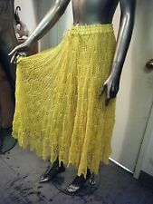 Indie Hippie Boho Vintage Open Crochet Skirt Yellow ONE SIZE