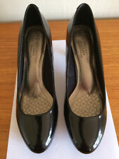 LADIES M&S BLACK PATENT LEATHER COURT SHOES 3in HEEL WIDER FIT SIZE 6 1/2-NEW