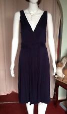 Navy Blue Waisted Fit And Flare Dress With Tie Backs From Moda Sz 16