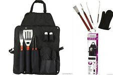 7PC BBQ STAINLESS STEEL TOOLS & GOURMET BBQ APRON KITCHEN-OUTDOOR UTENSIL SET
