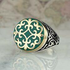 Solid 925 Sterling Silver Men Ring Green Enamel Gemstone HandMade Turkish Style