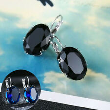 Earrings Gorgeous 925 Silver Stud Wedding Sapphire Jewelry Oval Blue