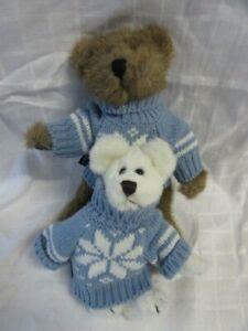 "Vintage Boyd's Bear Lot #20: 2 Snowflake Sweater Bears,  7"" & 9"", 1985-1997, Ex!"