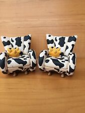 'Take A Seat' By Raine Miniature Dollhouse Cow 2 Chairs 2000 #24020 No Box