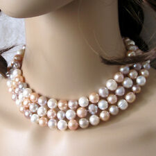 """48"""" 10-11mm Multi Color Freshwater Pearl Necklace White Pink Lavender"""
