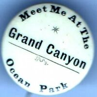 Early 1900s pin Meet me at the GRAND CANYON pinback Ocean Park button