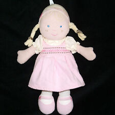 """Carers Doll Pink Corduroy Dress Blonde Braids Pigtails 12"""" Plush Soft First NEW"""