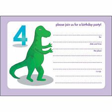 10 Childrens Birthday Party Invitations - 4 Yr Old - Fill-in - BPIF-80 Dinosaur!