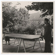 PHOTO Ancienne Ping Pong Sport collectif Table Raquette 1937 Jeu Partie de