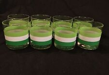 Vintage Georges Briard (Set of 8) Green & White Striped Rock 10oz Tumblers