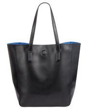 NWT Macy's Large Shopper Tote Bag Black/Blue Faux Saffiano Leather