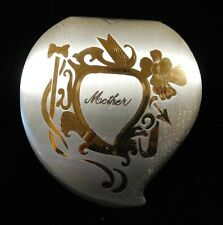 Vintage 1948 ELGIN American COMPACT Heart-Shaped MOTHER Engraved (TH905)