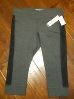 New IDEOLOGY Gray & Black Cropped Leggings Capri Yoga Pants Women's Size XS L 1X