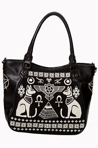 Women's Black Egyptian Cat Gothic Rockabilly Anubis Bag Handbag BANNED Apparel