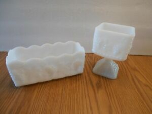 2 Fire King White Milk Glass Grapevine Dishes Rectangular Planter & Footed Candy