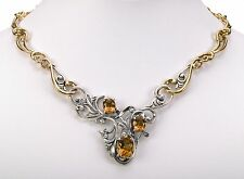 "Silver and Brass Necklace 17""L Carolyn Pollack Citrine gemstone Sterling"