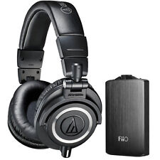 Audio-Technica ATH-M50X Pro Studio Headphones & Fiio A3 Amplifier Bundle (Black)