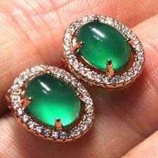 Antique Vintage Green Jade Diamond Earrings 14k Gold Plated Women Jewelry