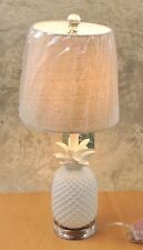 "TOMMY BAHAMA White Pineapple Table Lamp 20"" w/Linen Shade Glass Finial NEW"