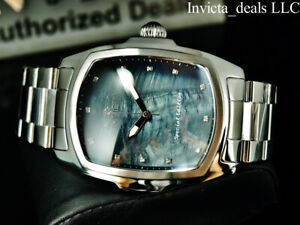 Invicta Men 47mm GRAND LUPAH Black MOP Dial DIAMOND Special Edition Silver Watch