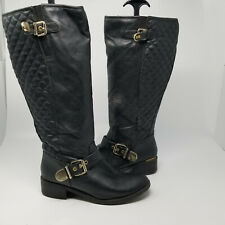 Rampage Black Faux Leather Double Buckle Riding Boot Shoes Women Size 7.5 M