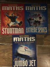 New listing 3 x USING MATHS EXTREME SPORTS STUNTMAN & FLY JUMBO JET FUN CHALLENGE BOOKS