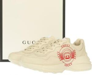 NEW GUCCI MEN'S RHYTON IVORY LEATHER LOGO SNEAKERS SHOES 10 G/US 10.5