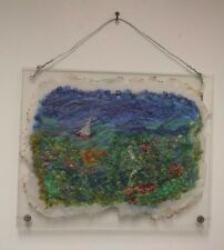 """ART Seascape by Barbara Featherstone Embroidered Textile Soft Sculpture 11"""" x 9"""""""