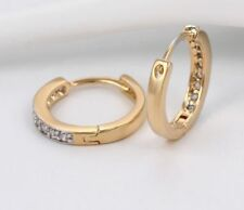 """9ct 9k Yellow & White """"GOLD FILLED"""" Girls Small HOOP EARRINGS. 13mm Gift"""