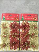12 CHRISTMAS GLTTER POINSETTIA DECORATION /TREE/ PRESENT BOWS