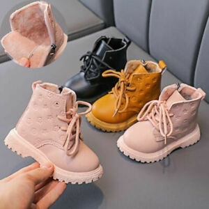 Kids Baby Ankle Snow Boots Boys Girls Toddler Chelsea Warm Winter Fur Lined Shoe