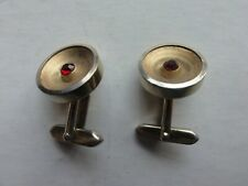 Cuff Links gold coloured with red  centre