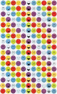 187 Happy Face Sticker Sheet (Blue Green Red Purple Emoji Emojis Smilers)