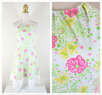 Vintage Lilly Pulitzer Pink Green White Floral Fit Flare Halter Dress Size 2