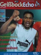 Programm 2001/02 1. FC Köln - Werder Bremen