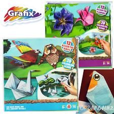 12 Sheets Kids Origami Make Printed 3D Flowers Birds Fun Folding Paper Craft DIY