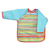 Waterproof feeding of Bib gown with long sleeves for baby toddler blue K3K3