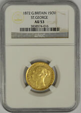 1872 Great Britain Gold Sovereign, St. George, NGC AU 53