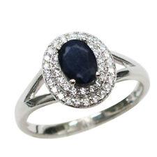 ELEGANT 1 CT GENUINE AFRICAN SAPPHIRE 925 STERLING SILVER RING SIZE 5-10