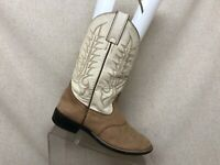 Tony Lama White Brown Leather Stockman Cowboy Western Boots Youth Size 2.5 D