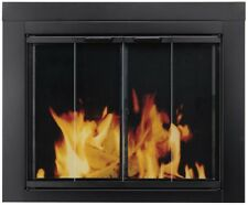 Surface Mount Fireplace Doors Heat Resistant Large Tempered Glass Black Finish