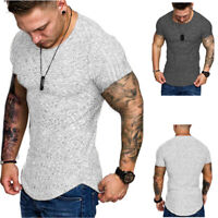 Fashion Men's Muscle Gym Crew Neck Fitness Short Sleeve Solid Color T-Shirts #B