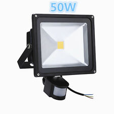 50W COB LED Floodlight PIR Motion Sensor Security Garden Cool Day White Outdoor