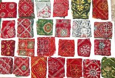 LOT Antique Vintage Sari Fabric 1 KG Embroidered sequins JOURNAL SCRAPBOOK CRAFT